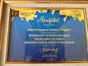 Sertifikat penghargaan Alpen - Sultra atas penyelenggaraan Workshop